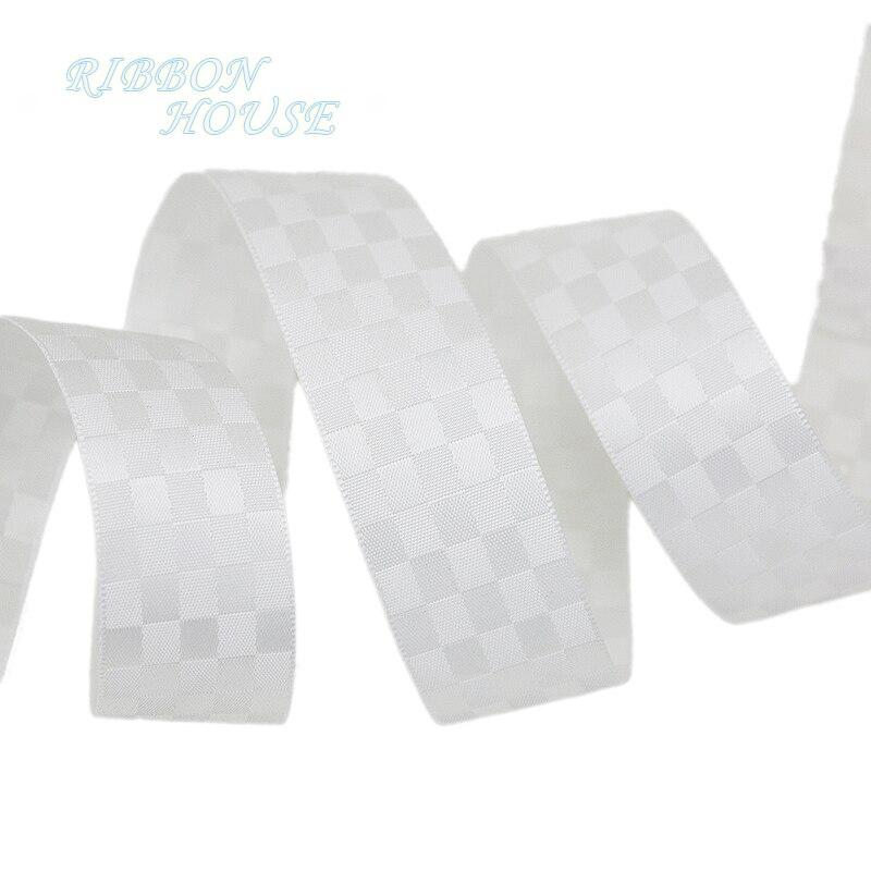 (10 ярдов/рулон) белый клетчатый двойной лицо сатиновая подарочная лента свадебные ленты