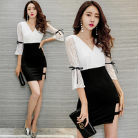 designer fashion brand Women's Clothing summer sexy club dresses ladies mini lace dress vestidos black white new hot