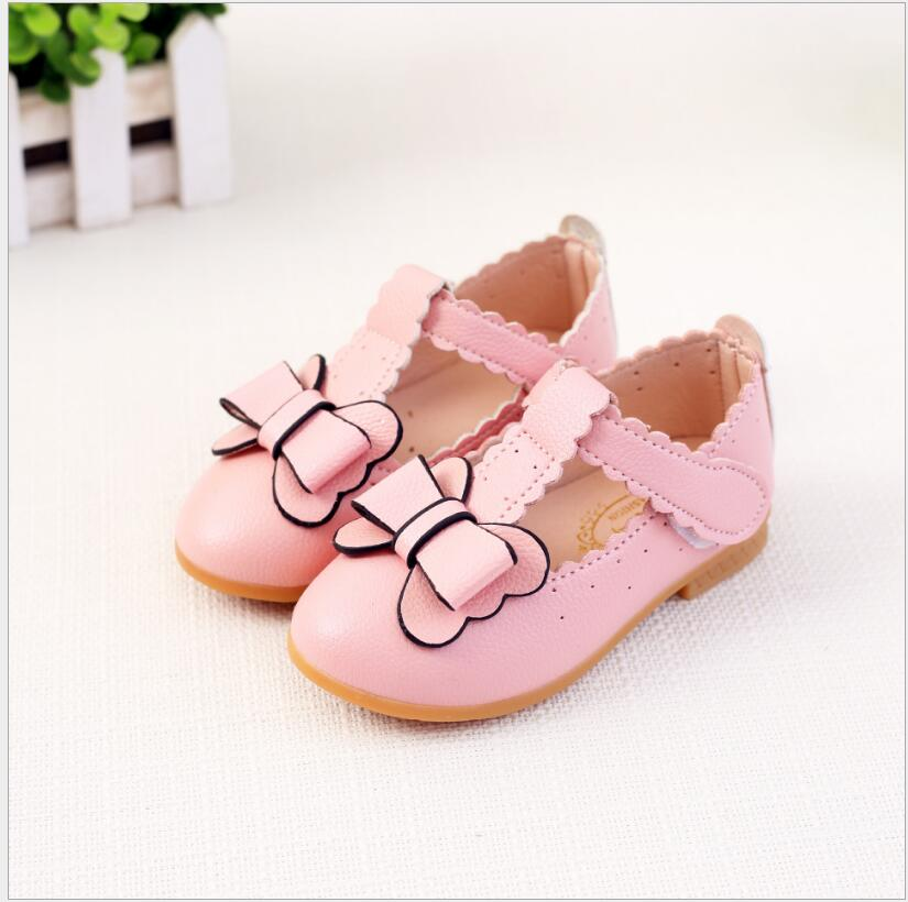 1 2 3 4 5 6 Year Fashion Kids Sweet Princess Bow Pink Leather Shoes Baby Girls School Birthday Party White Dress Single Shoes 26