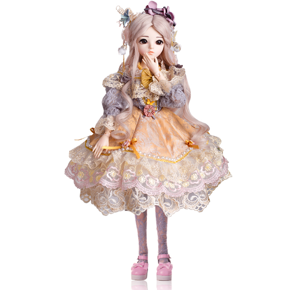 BJD 60 CENTÍMETROS Elegante Boneca Brinquedos 1/3 Olhos Castanhos Com Roupas Feitas À Mão Beleza Brinquedos Silicone Renascer Boneca de Brinquedo de Presente Para crianças
