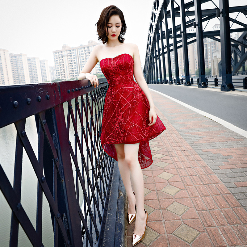 Sleeveless Cocktail Dresses Sexy Strapless Embroidery Party Gowns Red High Low Length Lace Up Plus Size Formal Party Dress E381