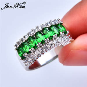 Stone Ring Wedding-Jewelry Green Zircon 925-Silver 13-Colors Women Crystal Promise Female
