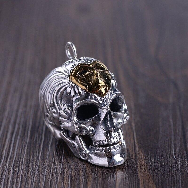 Серебро восстановление древних способов процесс мужская маска для лица Череп Кулон может открыть рот Тайское Серебро оптовая продажа