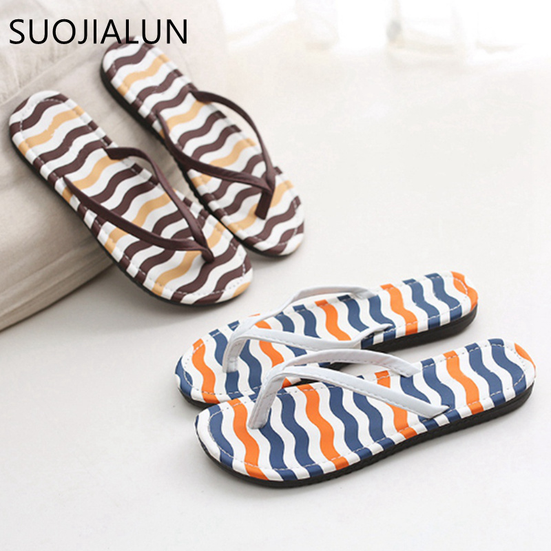 SUOJIALUN Women Slippers Casual Summer Beach Slip On Slippers Flip Flops Women Fashion Slippers Ladies Flats Shoes summer women slip on shallow breathable casual shoes female fashion beach shoes slippers ladies footwear women shoes cld927