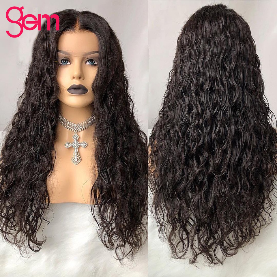 Water Wave Wig Glueless Lace Front Human Hair Wigs Malaysian GEM Remy Deep Part Natural Swiss