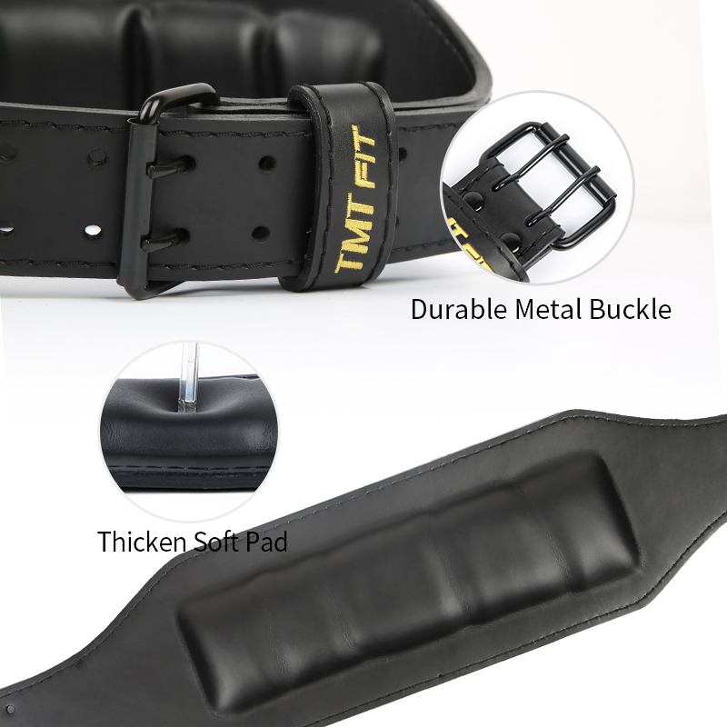 TMT Genuine Leather Weightlifting Belt Cowhide Lumbar Protection Barbell Gym Fitness Training Powerlifting Deadlift Back Support