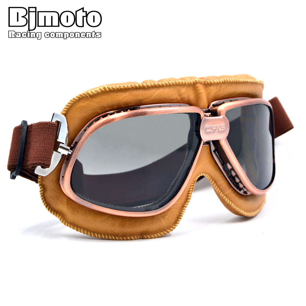 BJMOTO 5 Colors Copper Plated Frame Vintage Harley Goggles Glasses For Open Face Helmet Retro Motorcycle Half Helmet Eyewear 1pc 2015 fashion retro half frame shades style classic frame sunglasses summer eyewear