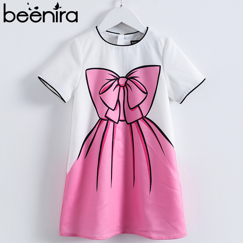Beenira New Summer Style Girl Short Sleeve Dress European and American Style Kids Pink Big Bow-knot Print Party Dress 4-14Years fashion bow knot side up strapless party dress deep pink size m