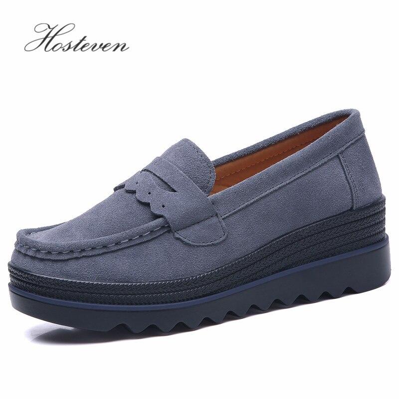 blue Femmes Femelle En Hosteven gray Daim Plat Automne Vache black Baskets Étudiants Mocassins Plate forme Printemps Chaussures Beige Cuir Dames UOwO8d