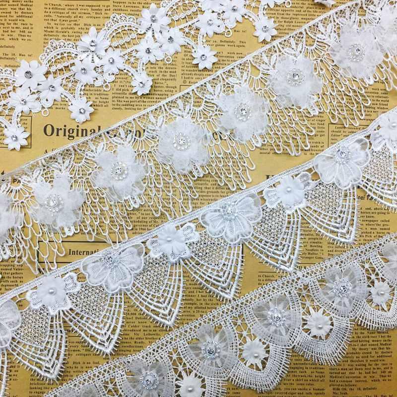 84a9992ad09 1 ярд белые цветы гипюр жемчуг кружевная бейка Стразы край ленты бисером  Вышивание Craft для бальное