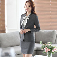 New spring and Autumn Design 2 Piece Clothing Set Women's Long Sleeve Elegant Blouses + above Knee Pencil Skirt Suit