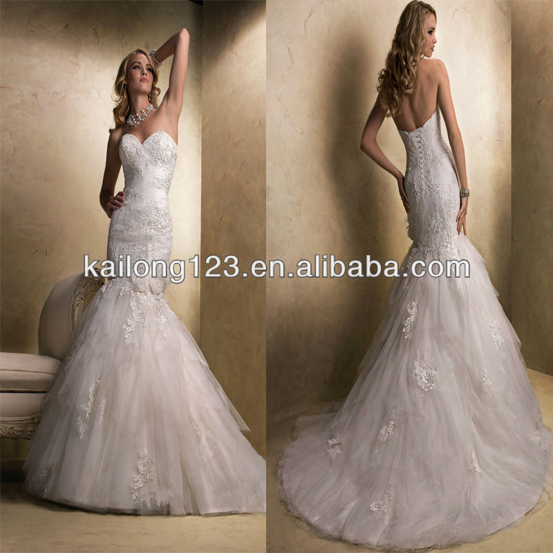 Charming Sweetheart Fit And Flare Corset Back Sweep Train Handmade