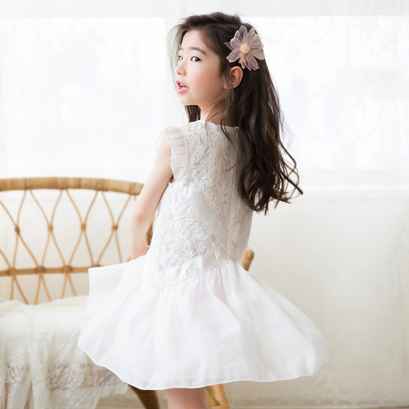 2019 marque Vestidos adolescentes robe d'été fête princesse robe Flutter manches Costume pour enfants vêtements fleur beauté 5-14 T