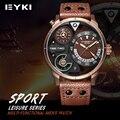 Eyki 2017 nova chegada relógios desportivos de couro para cavalheiros luminosas mens relógio de quartzo-auto data exército militar relogio masculino