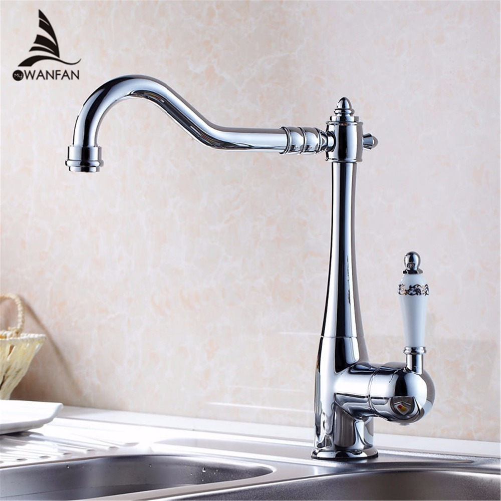 Kitchen Faucets Single Holder Single Hole Kitchen Sink Faucet Swivel Spout Ceramic Handle Chrome Brass Mixer Water Taps HJ 7801