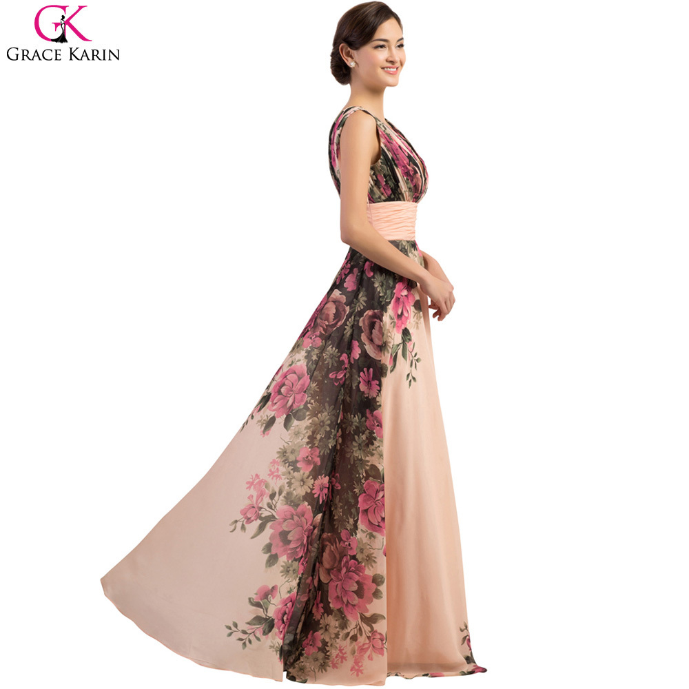 Plus Size Evening Dresses Grace Karin Lace Up Chiffon V Neck Tank Flower  Pattern Print Elegant Formal Gowns Evening Party Dress-in Evening Dresses  from ... 84d140585f69
