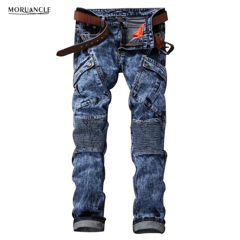 ФОТО Brand Designer Mens Moto Jeans Pants Multi Pockets Fashion Biker Jeans Joggers Man Pleated Slim Fit Denim Trousers Snow Pattern