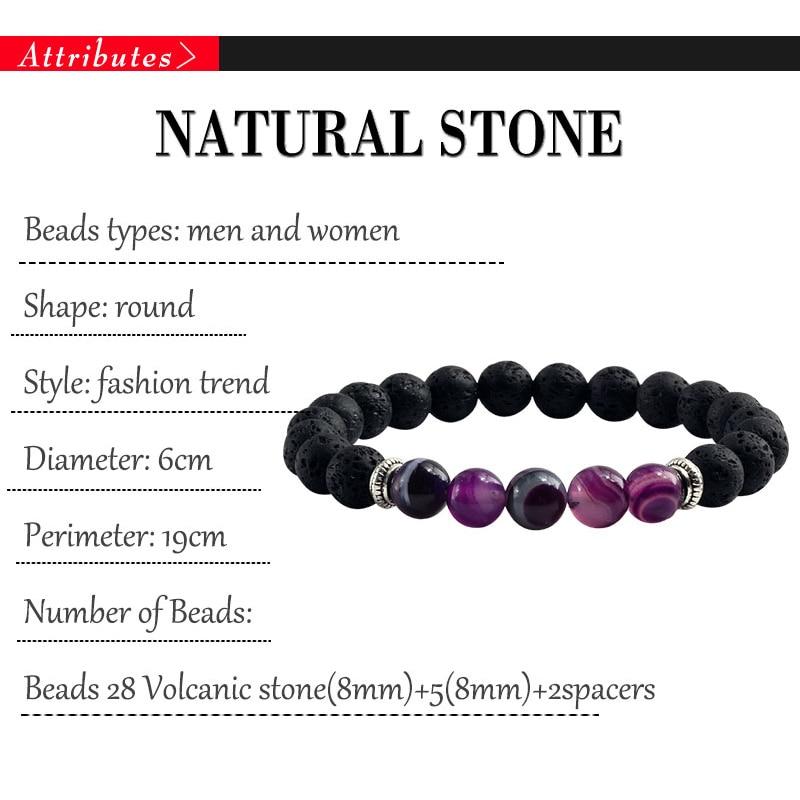 Natural Volcanic Stone Bracelets Charm Women Chakra Balance Beads Men Black Lava Turquoises Strand Bangle Fashion Buddha Jewelry 5