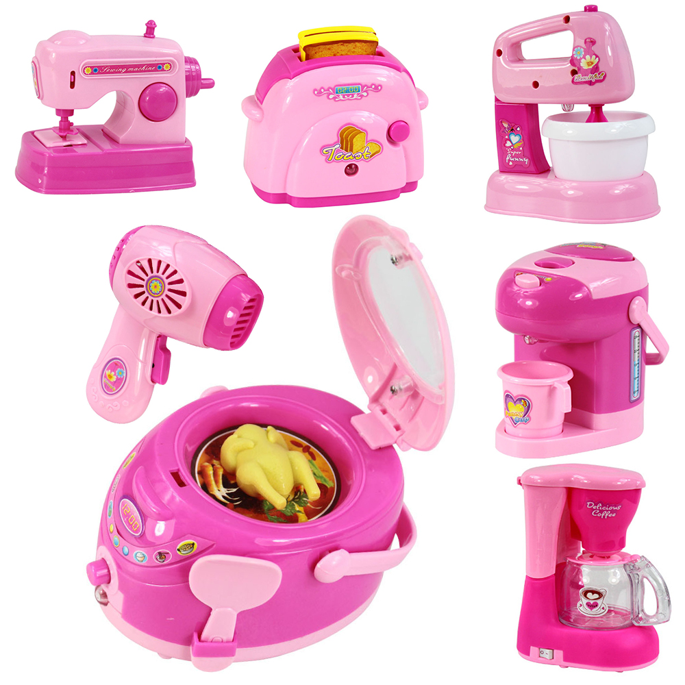 Children Pretend Play Kitchen Toys Pink Household Appliances Toaster Vacuum Cleaner Cooker Juicer Blender Toy For Kid Girls Toys