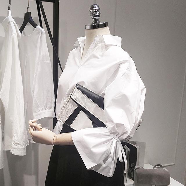 2017 novo estilo de moda senhora blusas camisa de algodão mulheres de negócios brancos cabedais flare manga longa