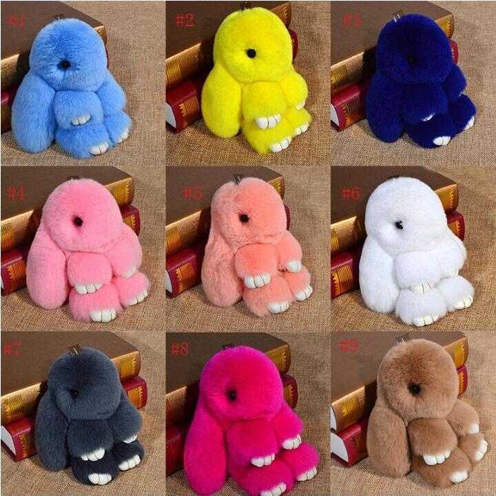 Cute Bunny Keychains Toy Pendants Rabbit Fluffy Fur Mujer Pompom 14-Colors 14cm 50pcs