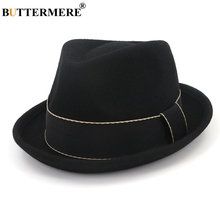BUTTERMERE Wool Fedoras Women Black Trilby Hat Female Vintage Pork Pie Hats Retro Jazz Cap Ladies Autumn Winter Classic Felt