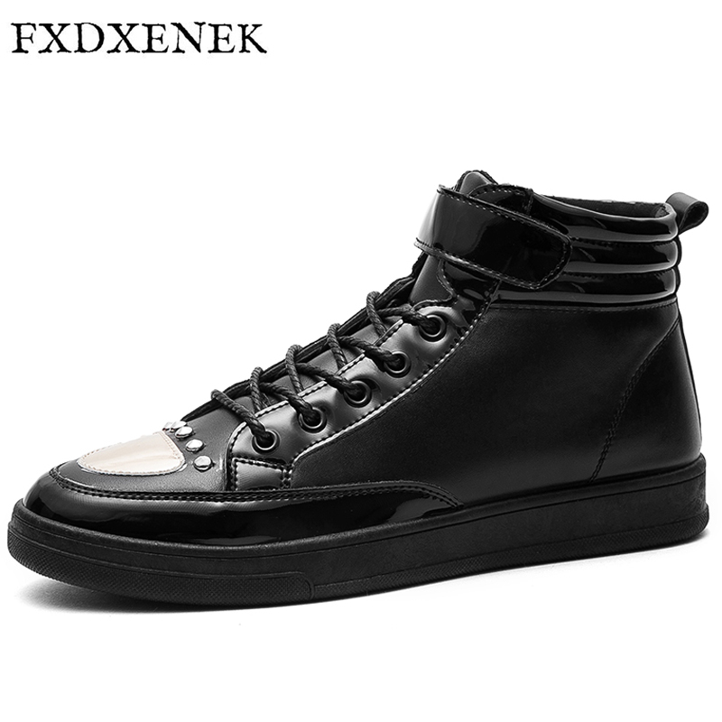 FXDXENEK Fashion Breathable Men Casual Shoes Walking Leather Shoes Autumn Winter High Top Male Sneakers Men Flats Espadrilles high quality men casual shoes fashion lace up air mesh shoe men s 2017 autumn design breathable lightweight walking shoes e62