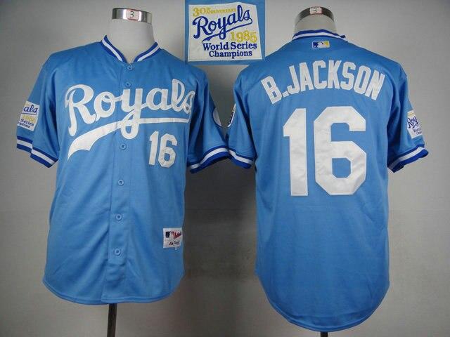 f52a91ffec1 Retro KC Kansas City Royals Jersey 16 Bo Jackson Throwback 1985 1987  Blue 1980 White B.JACKSON Baseball Shirts Wholesale-in Baseball Jerseys  from Sports ...