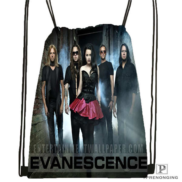 Custom Evanescence  Drawstring Backpack Bag Cute Daypack Kids Satchel (Black Back) 31x40cm#180612-02-7