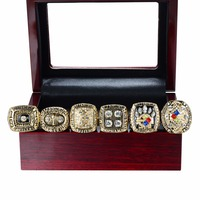 Wooden Box With Replica Pittsburgh Steelers Super Bowl Set 1974 1975 1978 1979 2005 2008 Championship