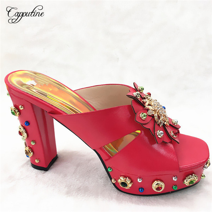 Charming red party shoes high heel slipper shoes with nice decoration for lady CFS13, size 38-42Charming red party shoes high heel slipper shoes with nice decoration for lady CFS13, size 38-42