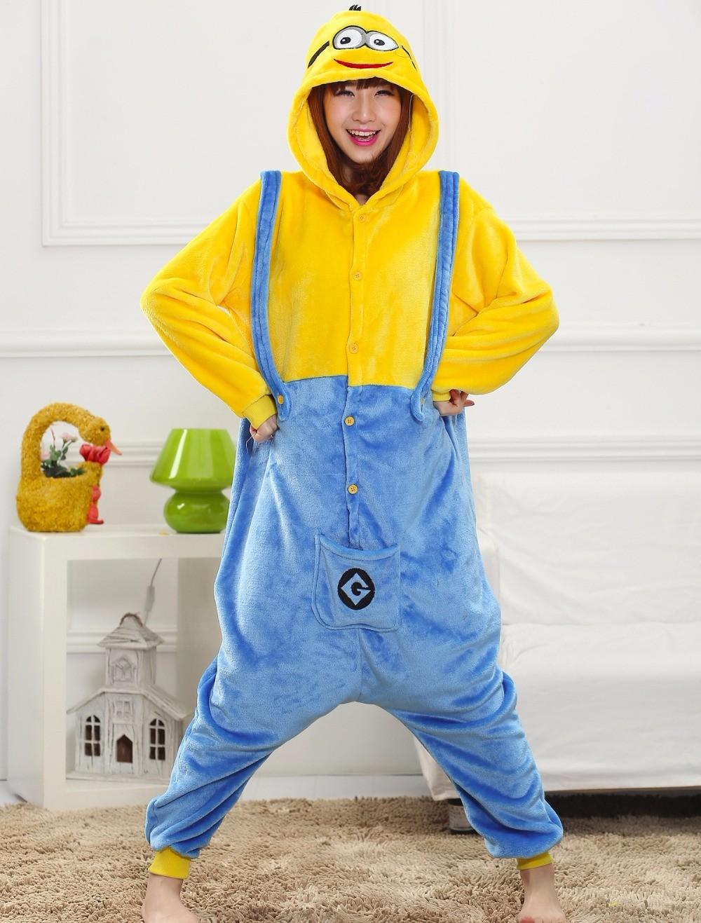 Despicable-Me-2-Minions-unisex-adults-flannel-Pajamas-cosplay-Pijama-animal-Onesies-Pyjamas-sleep-Robe