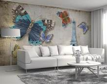 3D wallpaper roll size living room bedroom Bamboo Vintage butterfly paris tower 3d wall murals wallpaper home decor photo(China)