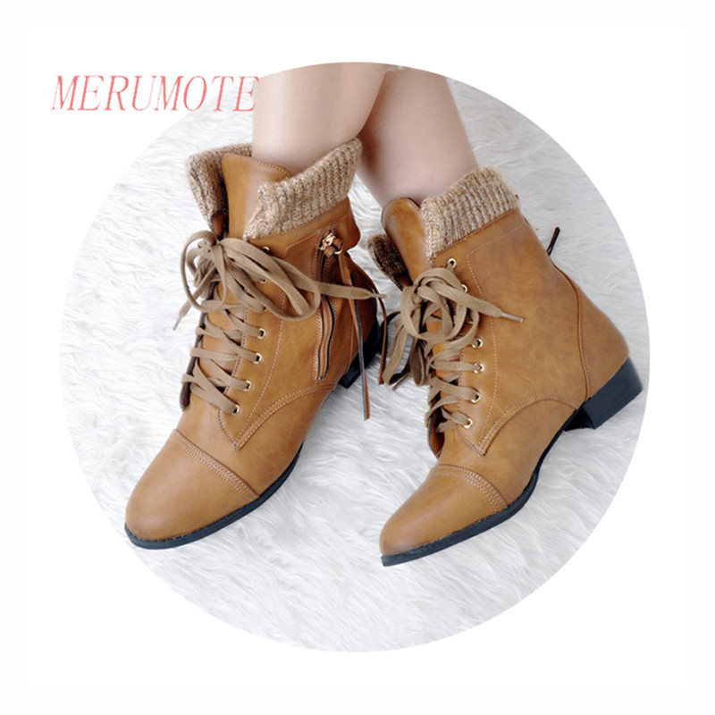 ФОТО MERUMOTE EU 35-47 Front Strap Lace Up Zipper Knit Decoration Low Heel 2016 New Winter Short Ankle Work Boots
