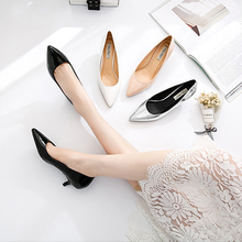 Fashion Patent Leather Women Med Heels Shoes Black/White/Nude/Silver Classic Spring/Summer/Autumn Lady Shoes Casual Female Shoes стоимость