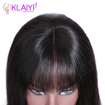 Klaiyi Hair Straight Bob Human Hair Wigs With Bang 8-14 inch Pre Plucked Brazilian Remy Hair 13*4 Lace Front Wig 150% Density 5