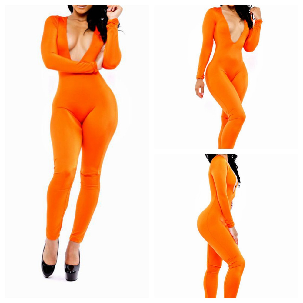 New Women Trendy Sexy Orange Deep V Long Sleeves Celeb Inspired ...