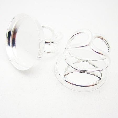 Beadsnice модное кольцо база подходит 25 мм установка кольцо заготовки для персонализации DIY ювелирных изделий делая ID22707 - Окраска металла: silver plated