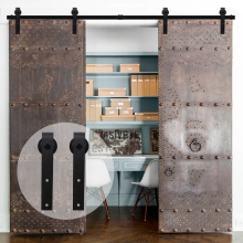 купить LWZH European Wood Barn Door 6FT/6.6FT/7FT/7.5FT/8.2FT/9FT Black Steel Sliding Barn Door J- Shaped Track Roller for Double Door дешево