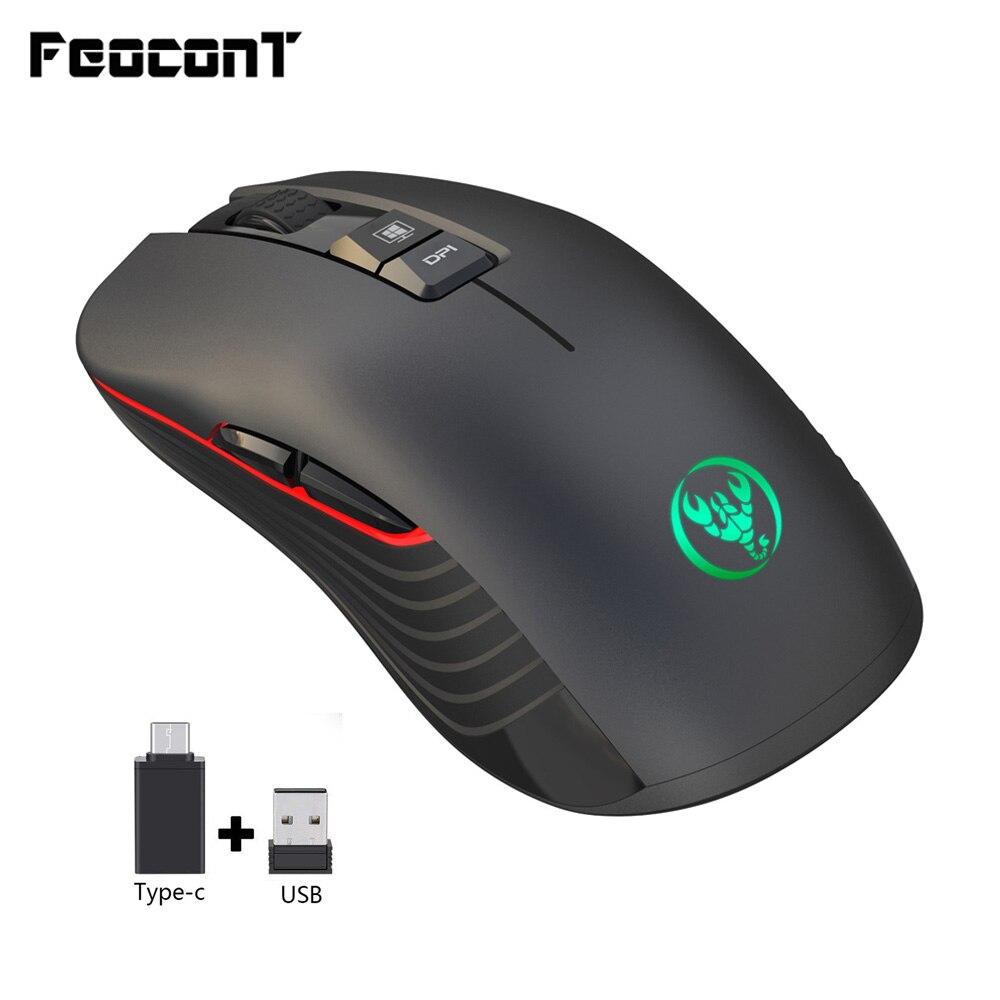 Rato sem fio t30 7 botão 3600 dpi recarregável mudo mouse com TYPE-C adaptador usb receptor para macbook portátil gamer gamer gaming
