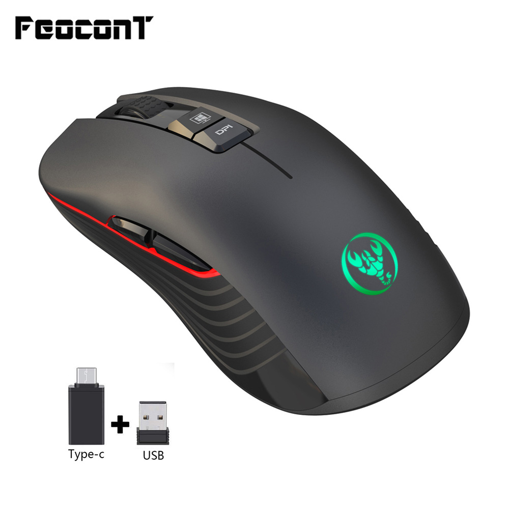 Wireless Mouse 7 Button 3600 DPI Rechargeable Silent Mouse with Adapter Type-C USB Receiver for Laptop Gamer Gaming