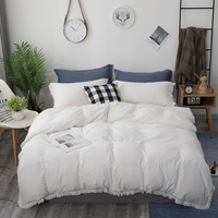 European Luxury Craft Bedding Sets White Washed Cotton Handmade Tassel Lace Duvet Cover King Size Single Double Queen King Size