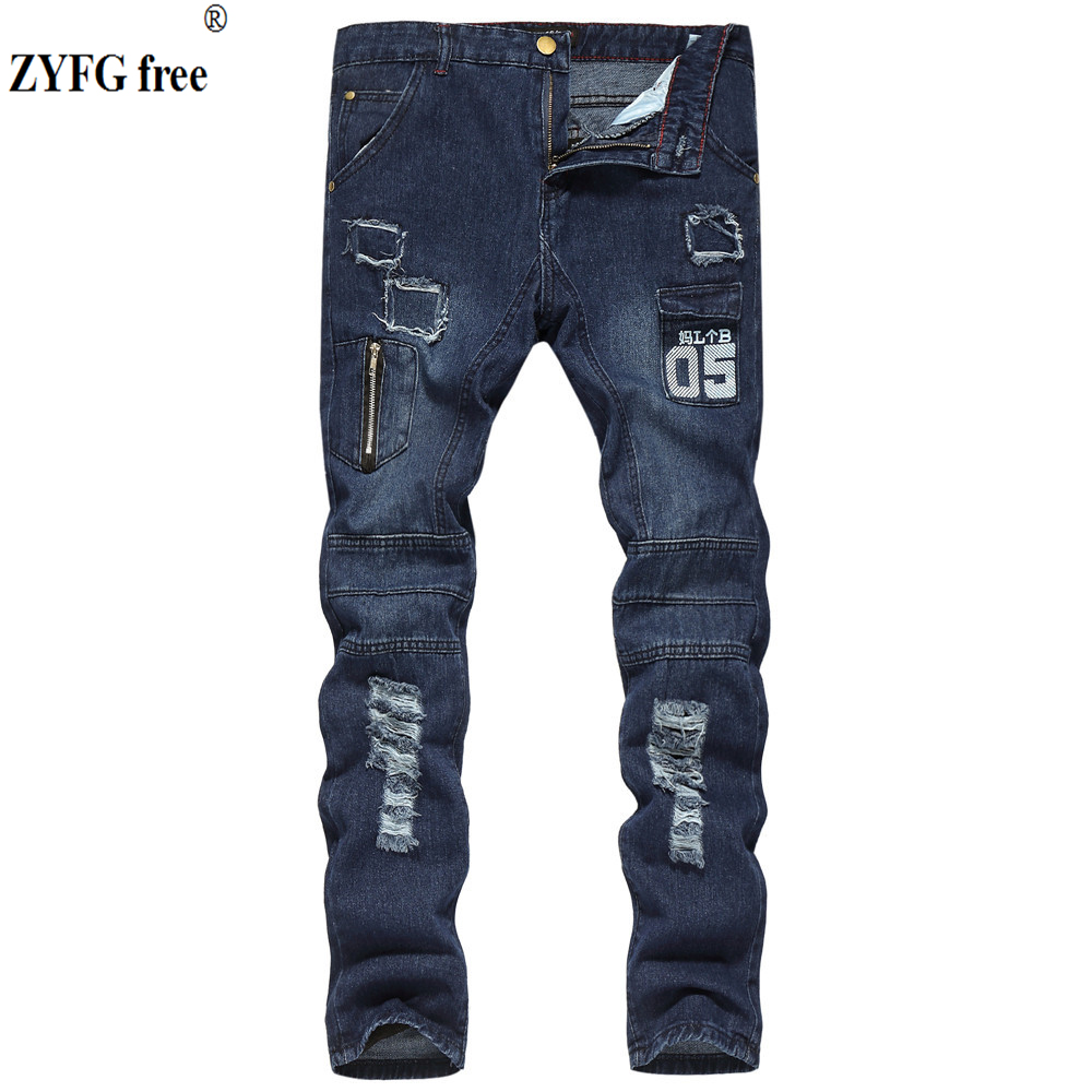 ZYFG Free Men Fashion Casual Jeans Personality Zipper Holes Decorate Jeans Youth Full Length Jeans Trousers Men Large Size