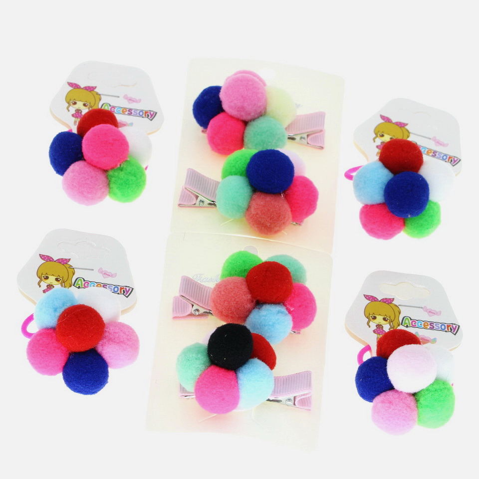 isnice 2pc Cute Fur pumpkin Hair Clips For Girls New 2019 Elastic bands exclusive accessories for Children Kids Korean