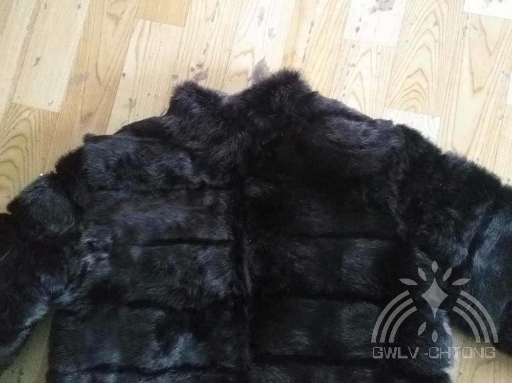 100% натуральное пальто из кроличьего меха, женская модная куртка с воротником-стойкой, можно изменить длину и рукав