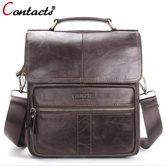 CONTACT'S Men Bag Genuine Leather Shoulder Bags Handbag Men Luxury Brand Male Handbags Crossbody Messenger Bags Handbag 2018 New цена
