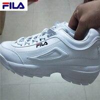 FILAS Disruptor II 2 уличные мужские и женские кроссовки белые летние повышенные спортивные дышащие из искусственной кожи для прогулок