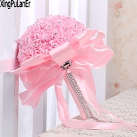 Gorgeous Beaded Crystal Wedding Bouquet Pink Rose Bridesmaid Flowers Artificial Sapphire Bridal Bouquets