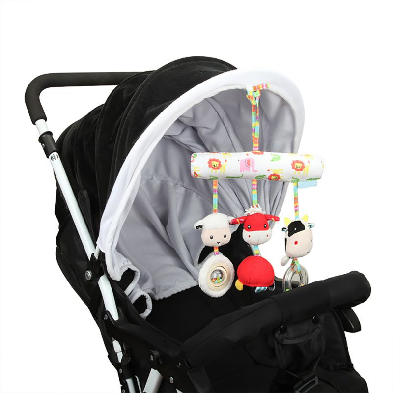 Newborn Infrant Baby Bed Stroller Car Seat Hanging Plush Farm Animal Sheep Cow Handbells Toys Bedding Sets