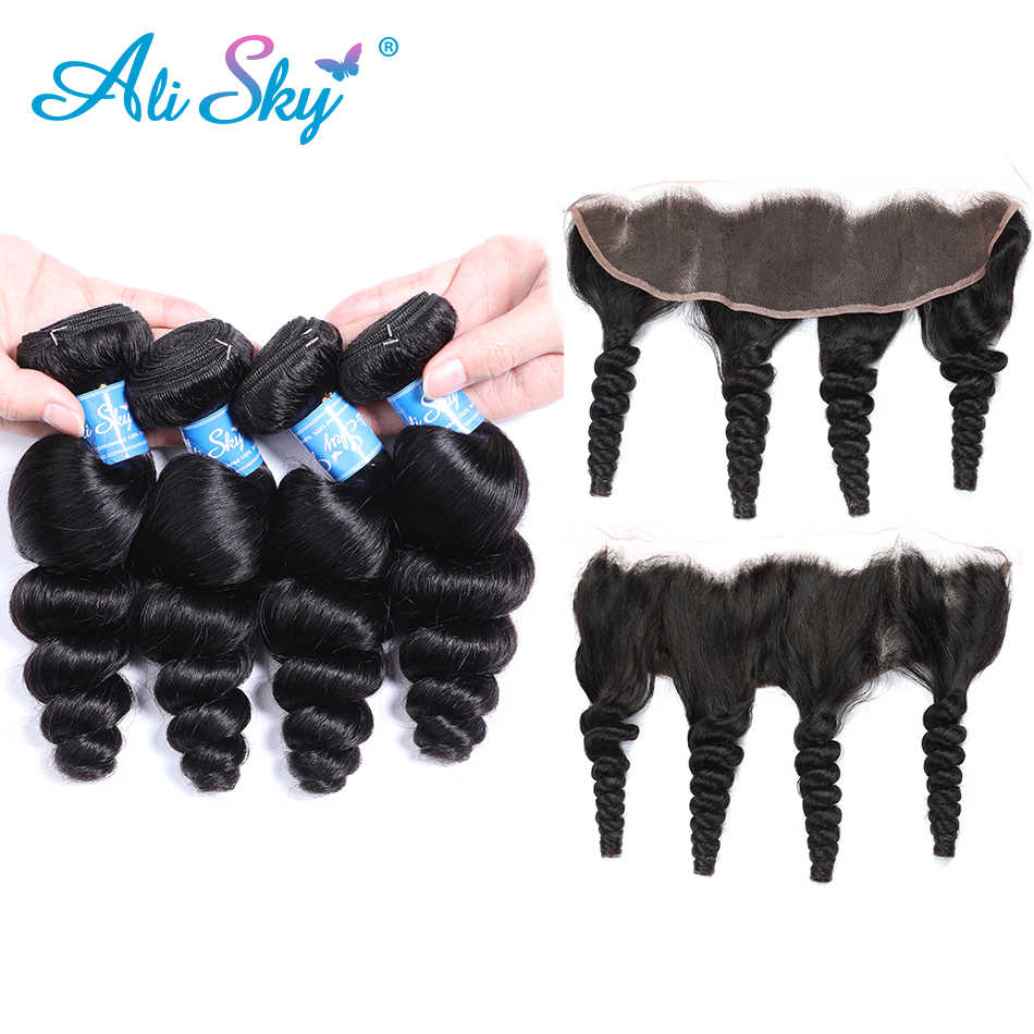 Alisky Hair 13x4 Ear To Ear Lace Frontal Closure With Bundles Brazilian Loose Wave 4 Bundles With Frontal Remy Hair Extension